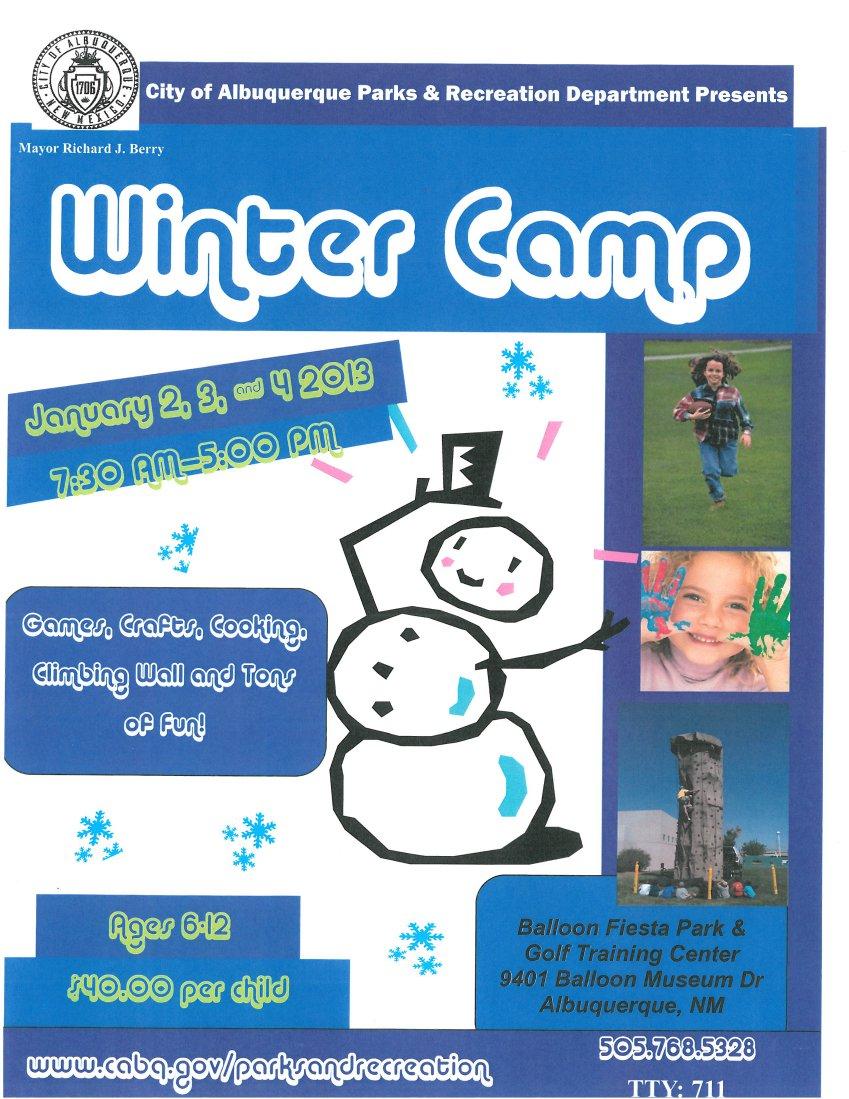 Winter Camp 2013 flyer