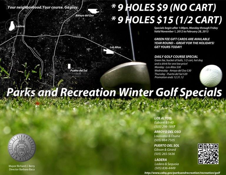 2012-2013 Golf Winter and Year Round Specials Flyer