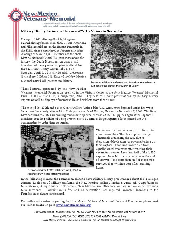 Military History Lecture - Bataan April 2014