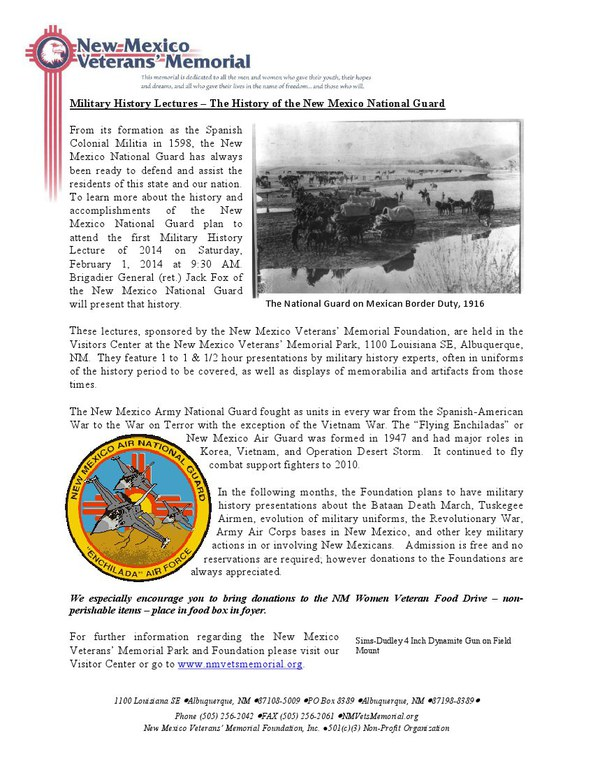Military History Lecture - NM National Guard Feb 2014