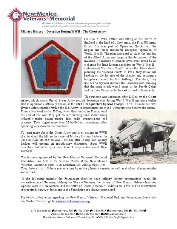 Military History Lecture - Deception During WWII - The Ghost Army
