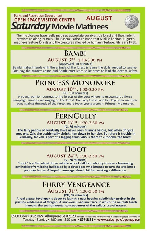 Movie Matinees at OSVC August 2013