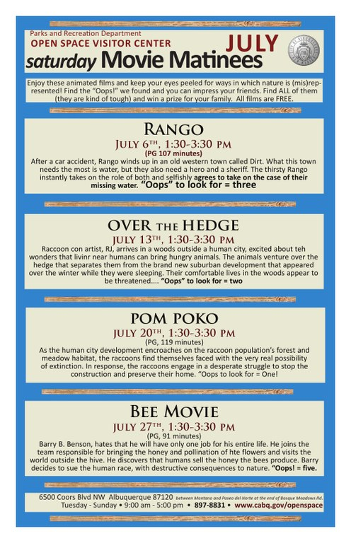 Movie Matinees at OSVC July 2013