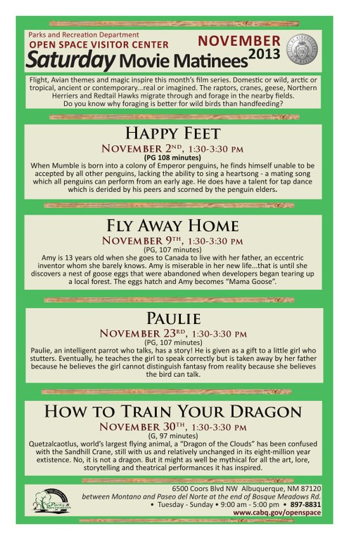 OSVC Saturday Movie Matinee November 2013 Schedule