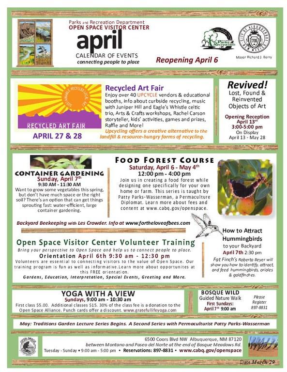OSVC April 2013 Calendar of Events