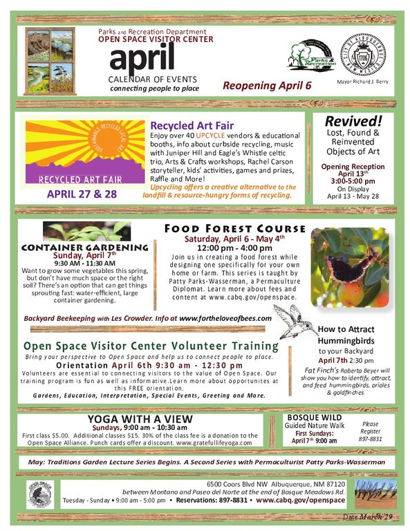 OSVC April 2013 Calendar of Events