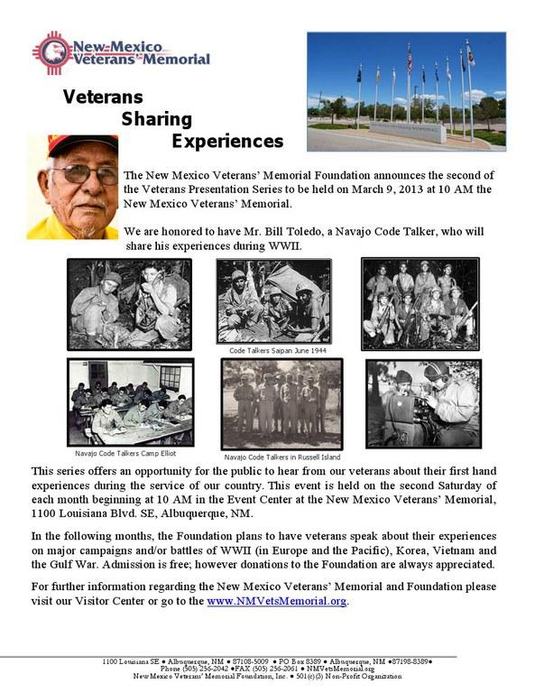 Veterans Sharing Experiences Flyer