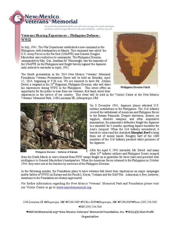 Veterans Sharing Experiences - Atilano David