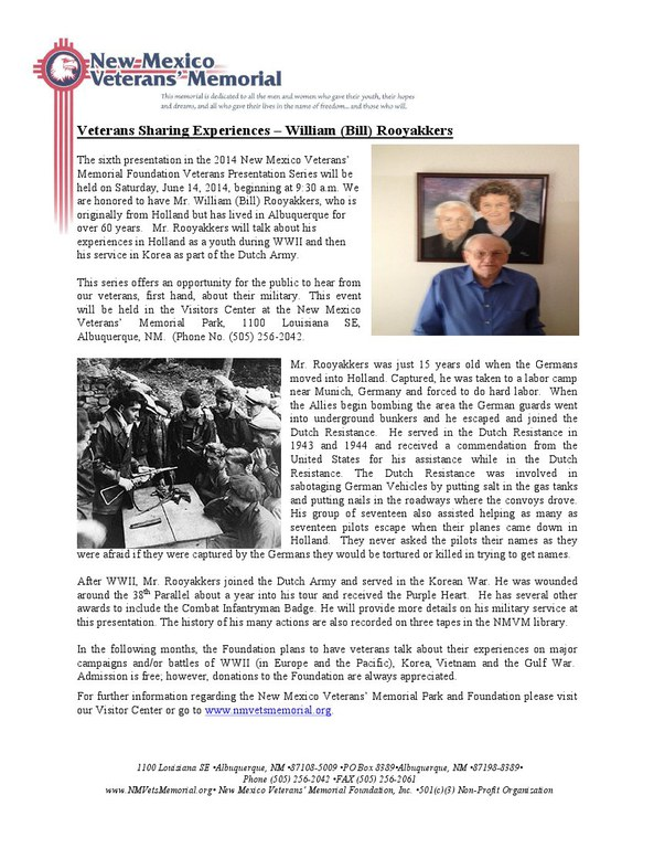 Military History Lecture - Mr. William (Bill) Rooyakkers