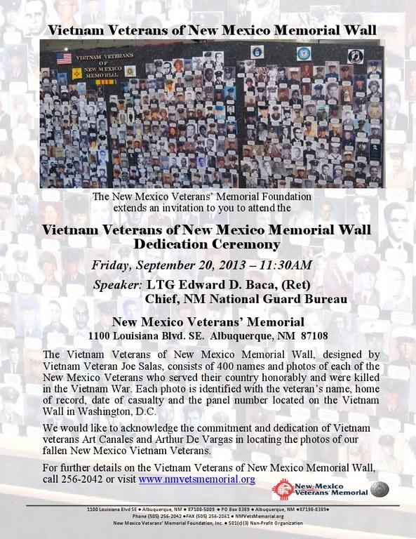 New Mexico Vietnam Veterans Memorial Wall