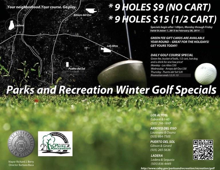 Winter 2013-2014 Golf Specials