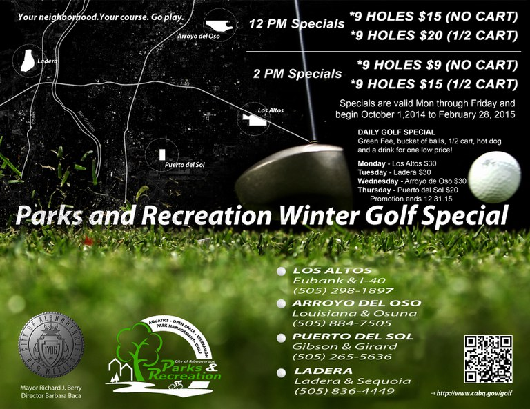 Winter Golf Specials 2014