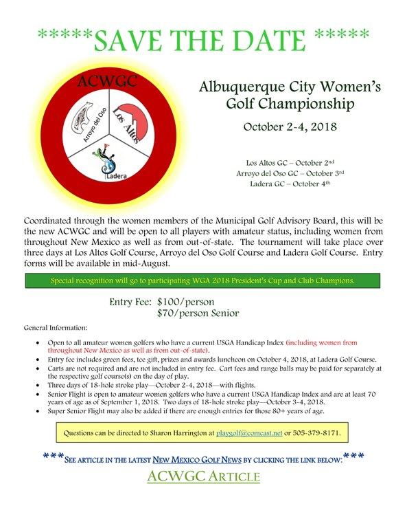Save the Date: 2018 Albuquerque City Women's Golf Championships