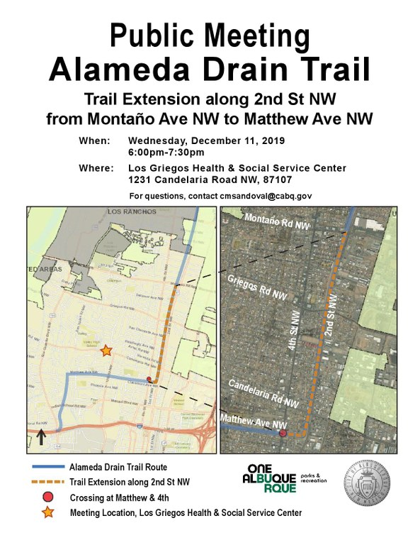 Alameda Drain Trail Public Meeting Flyer - December 2019