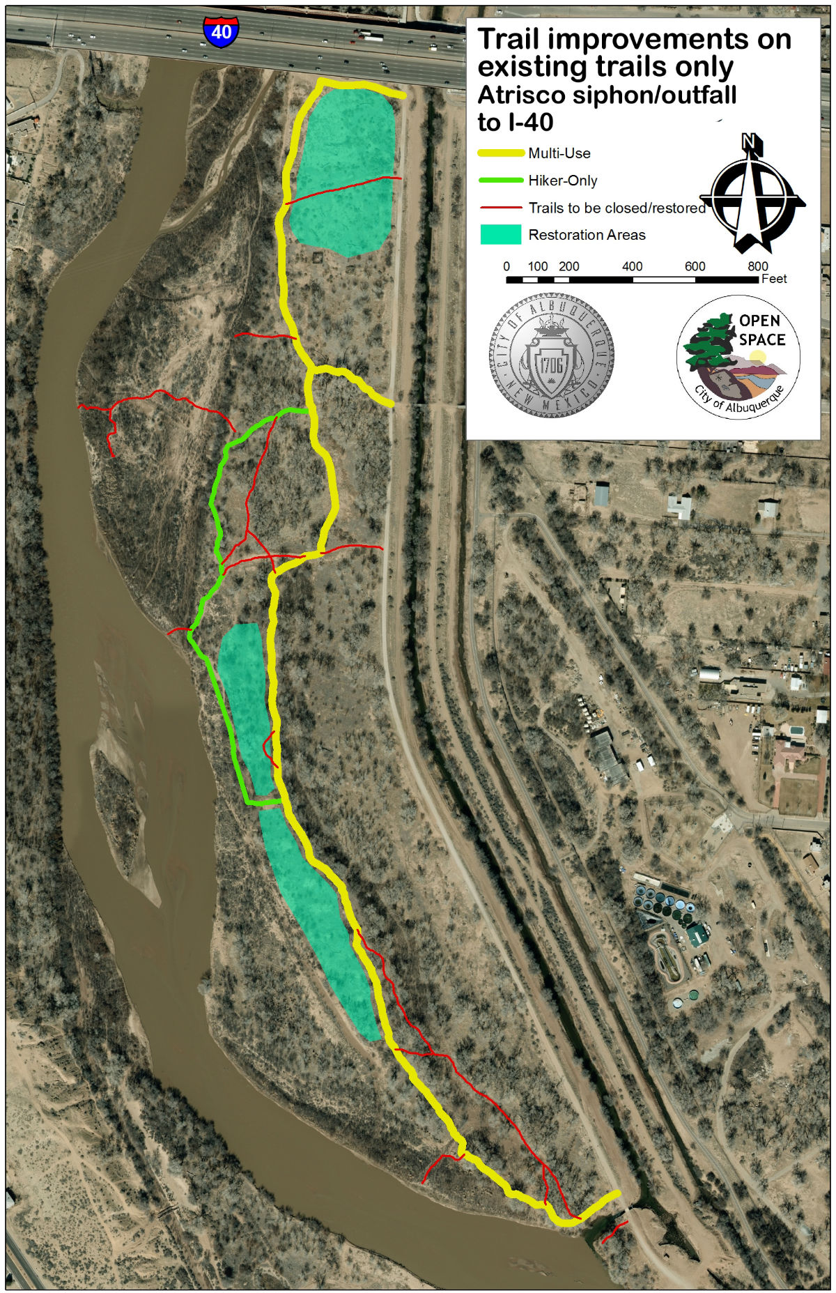 Image of a map showing Alternative 1 - Outfall to Interstate 40.
