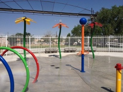An image of Wells Park Spray Pad, which opened in the summer of 2012.