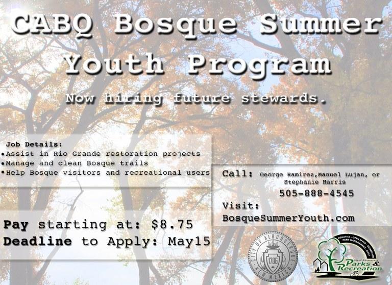 Bosque Summer Youth Program flyer