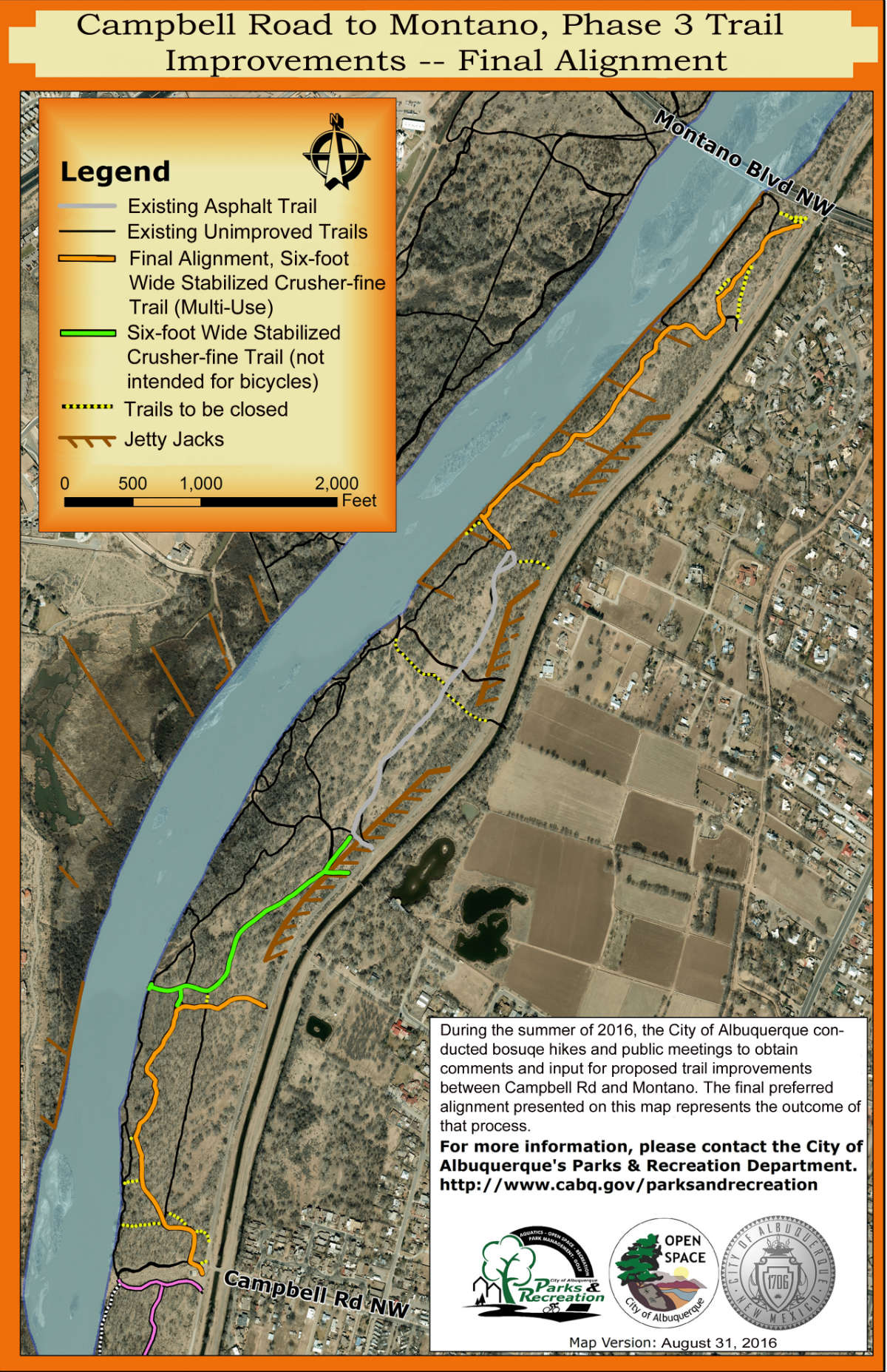 Map of the planned Bosque Trail path from Campbell Road to Montano Road.