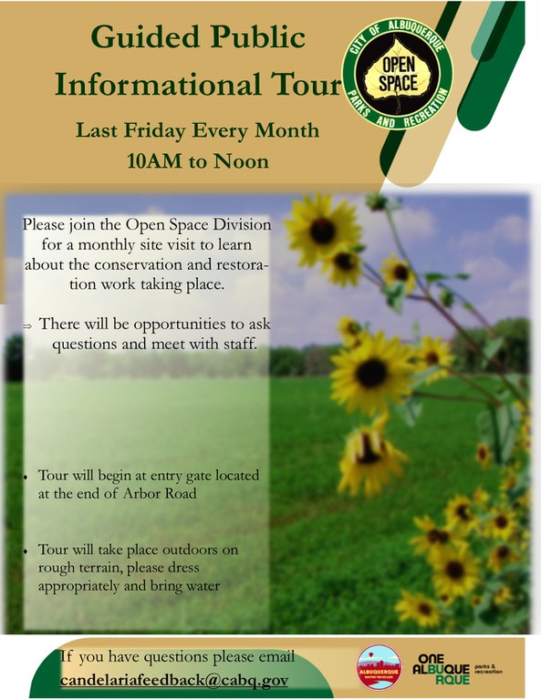 Flyer for monthly guided public tours of the Candelaria Nature Preserve