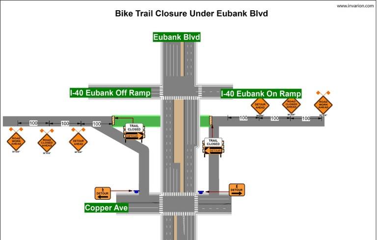 I-40 Trail Eubank Tunnel Detour April 2020