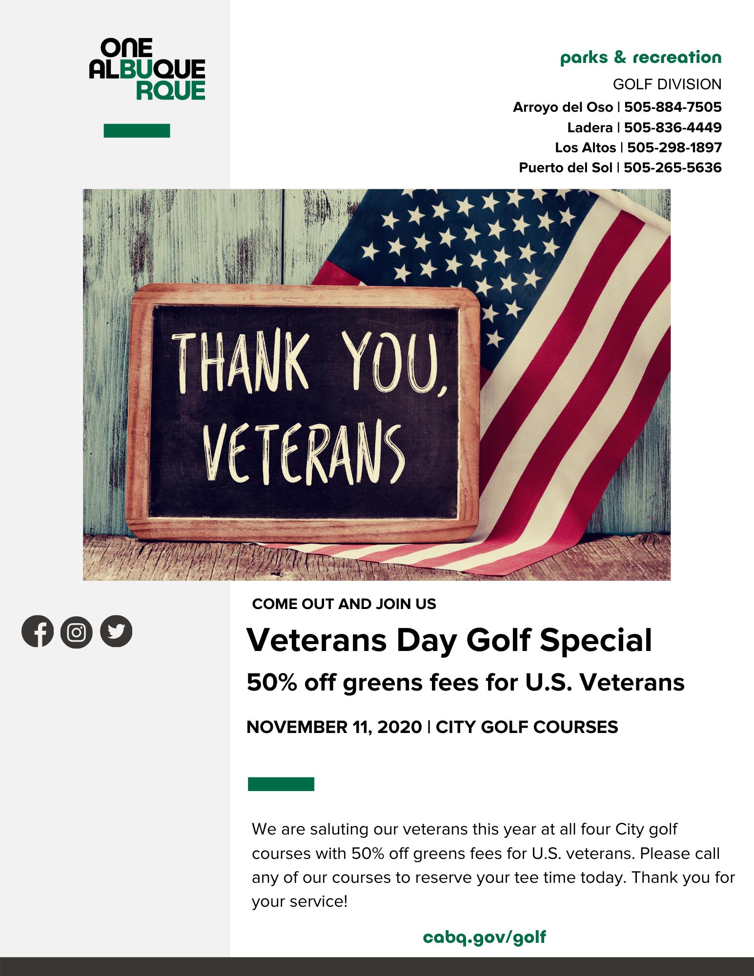 2020 Veterans Day Golf Special