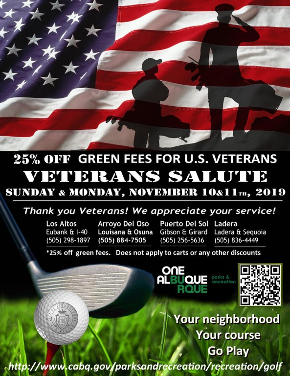 2019 Veterans Day Golf Specials