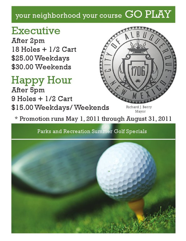 updated summer golf specials