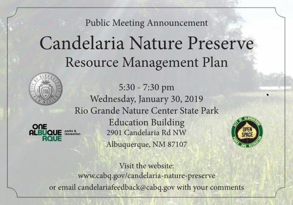 Candelaria Nature Preserve Public Meeting #1 Invitation
