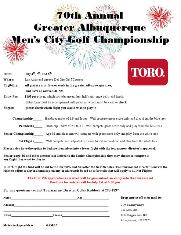 Mens City Championship Entry Form 2014