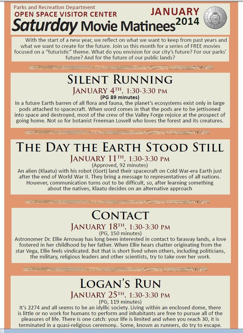 January Movie Calendar for OSVC