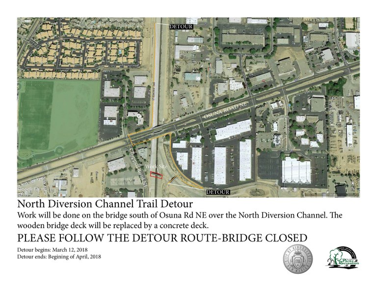 North Diversion Channel Bridge Detour Route