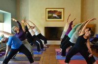 An image of a yoga class at the Open Space Visitor Center.