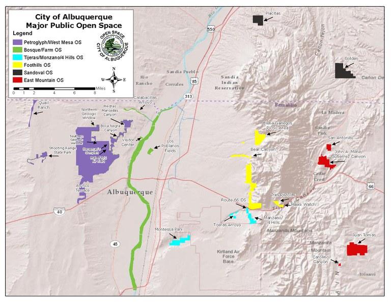 A map of City of Albuquerque Open Spaces.