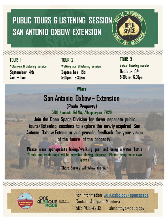 Flyer for the three fall 2021 public events regarding the San Antonio Oxbow Extension recently purchased by the Open Space Division