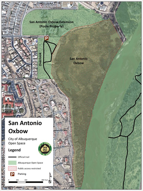 A trail map of the San Antonio Oxbow, Oxbow Extension (Poole Property) and surrounding Bosque