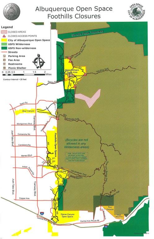Map: Sandia Foothills Closure 2013