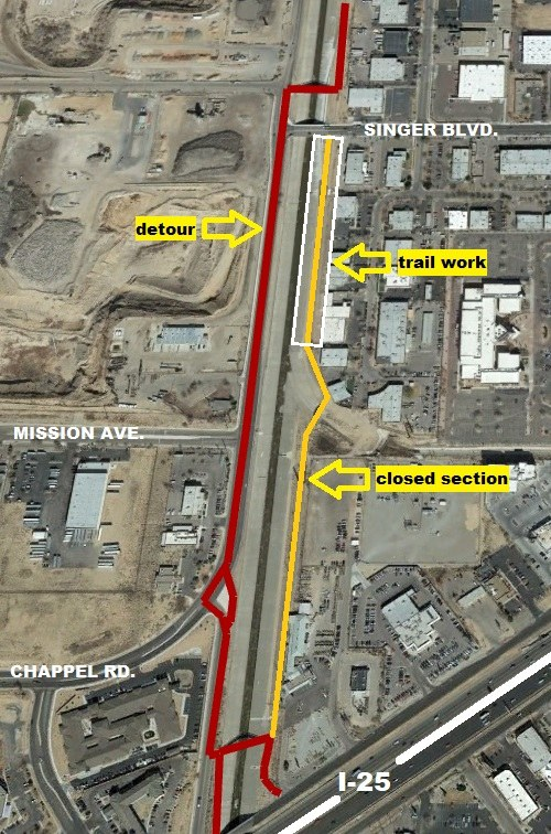 Map of North Diversion Channel Trail Detour at Singer Blvd