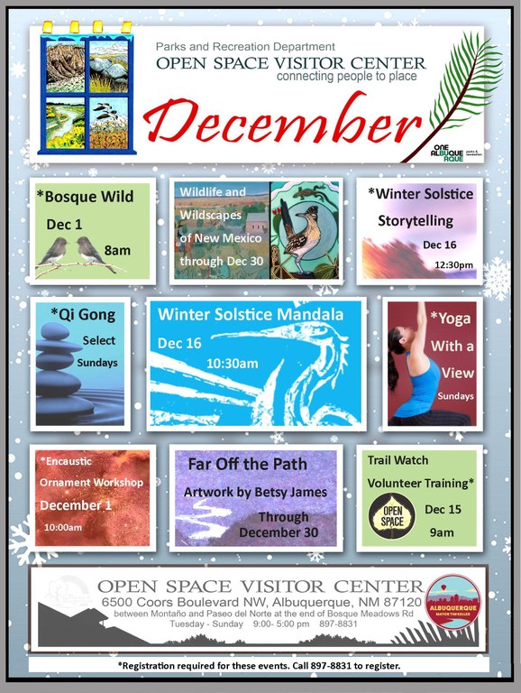 december 2018 calendar of events at the open space visitor center