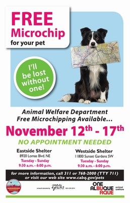 Animal Welfare Department is offering FREE Microchipping