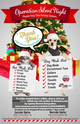 Operation Silent Night Collects Comfort Gifts for Shelter Animals