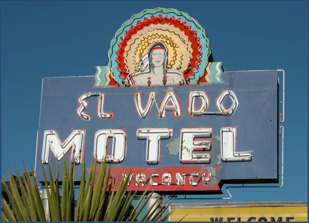 Image of the Neon Sign at the El Vado Auto Court.