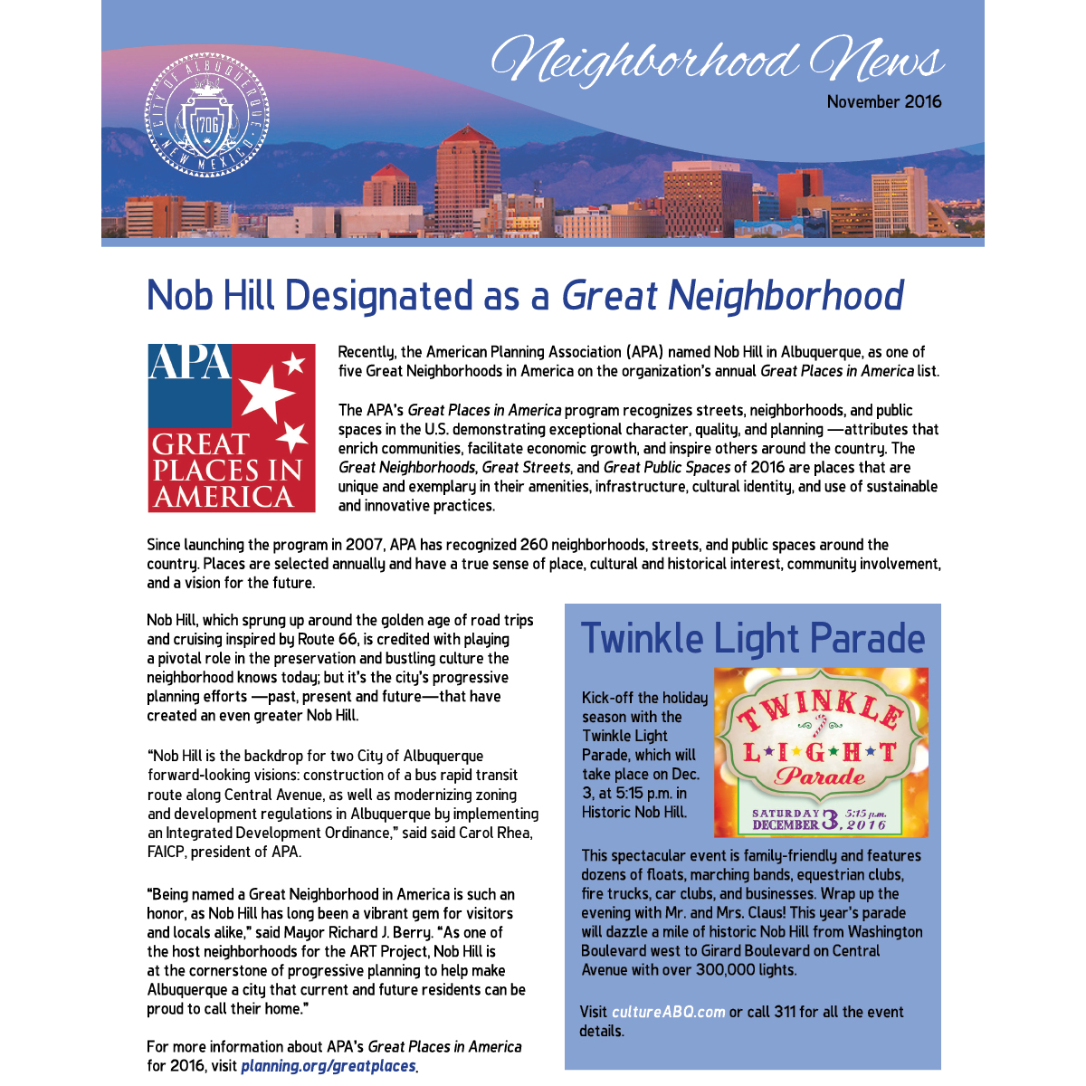 November 2016 Neighborhood News