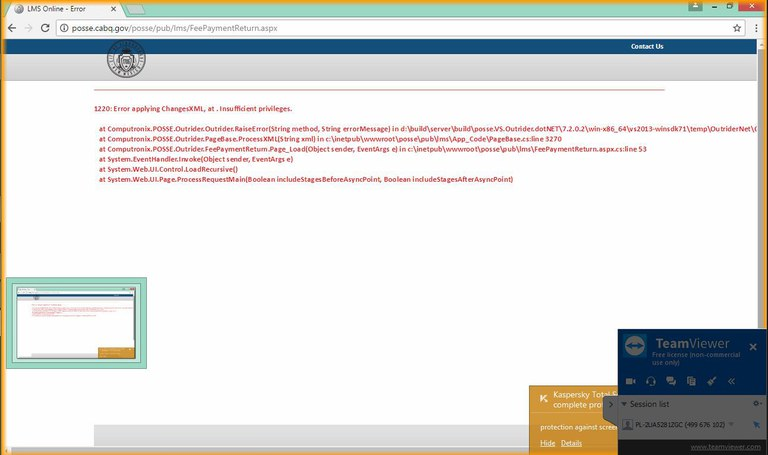 A screen capture of an error message that could show up when making a payment through the Planning Online Services System.