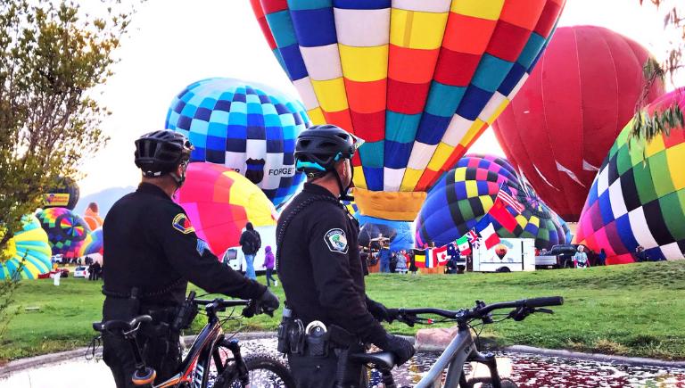 Bike patrol officers at balloon fiesta