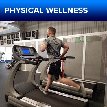 A jpg of the APD Officer Wellness button for the Physical Fitness section, featuring a photo of an officer running on a treadmill in a gym.