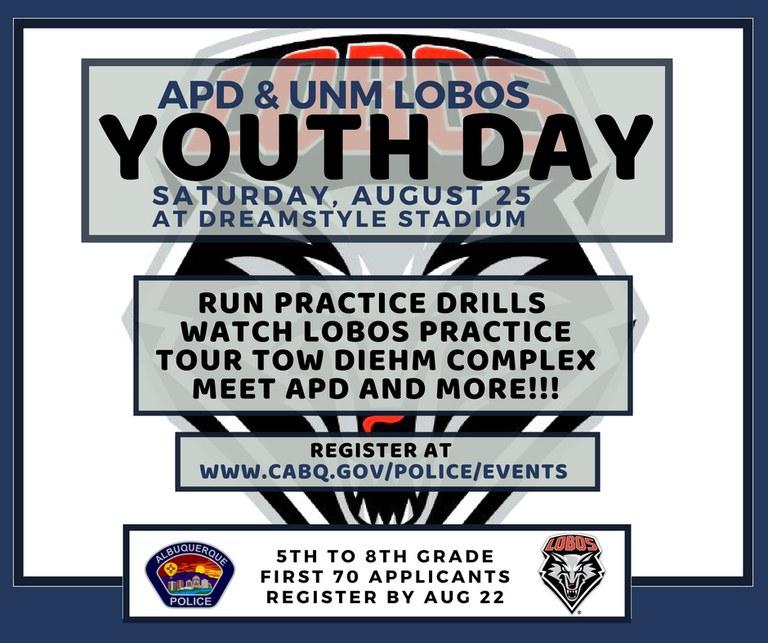 APD UNM Lobos youth day logo