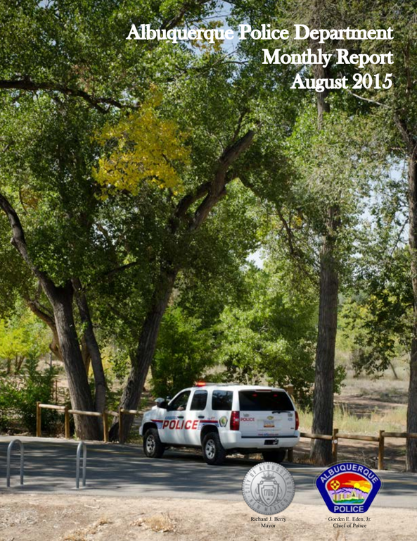 Monthly Police Report: August 2015 Cover