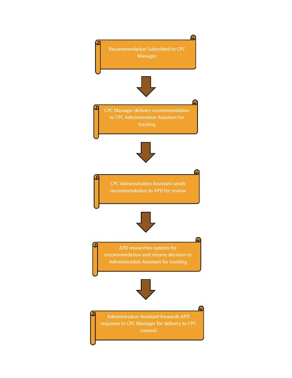 A JPEG of Community Policing Recommendation Process Map Illustration.