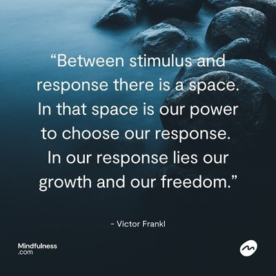 """A jpg of a calm blue lake with a rock and quote by Victor Frankl that reads: """"Between stimulus and response there is a space. In that space is our power to choose our response. In our response lies our growth and our freedom."""""""