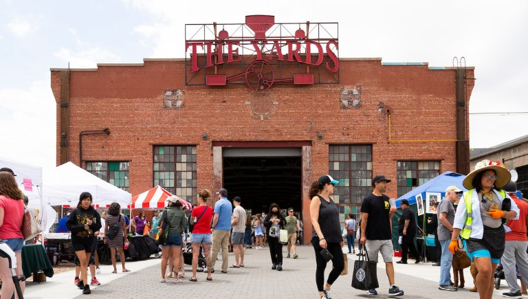 Shoppers at the Railyard Market